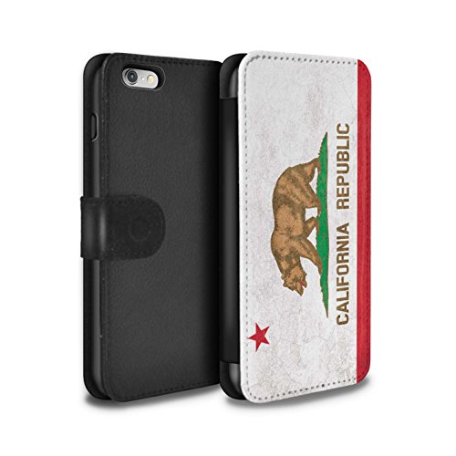 Stuff4® PU-Leder Hülle/Case/Tasche/Cover für Apple iPhone 6S / Kalifornien Muster/Jahrgang USA-Staat Flagge Kollektion (Iphone Flagge Fall Kalifornien)