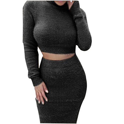 YYF Women's 2 Pieces Set Long Sleeve High Neck Bodycon Skirt Sweater Outfit (Lady Outfit)