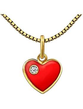 CLEVER SCHMUCK-SET Goldener Anhänger kleines Herz 8 mm rot lackiert mit einem kleinen Stein weiß glänzend 333...