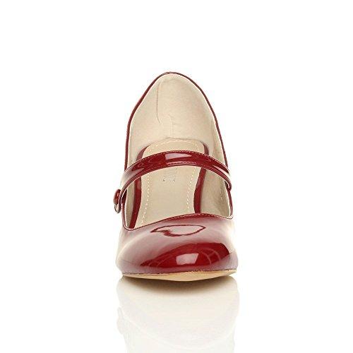 Damen Hoher Absatz Mary Jane Formal Abend Party Ball Pumps Schuhe Größe Bordeaux Lackleder