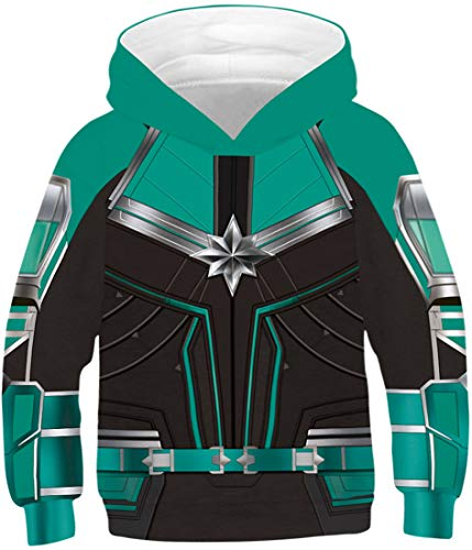 EUDOLAH Jungen Kaputzenpullover für 4-13 Alter Kind 3D Druck Kids Langarm Mehrfarbig Bunt Boy Herbst Winter Hemd mit Kaputzen Hoodies A-Captain Marvel 2 XS