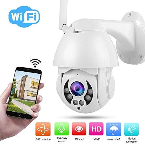 2,5 Zoll 1080P 4X PTZ Überwachung Kamera für den Außenbereich, WiFi Nachtsicht Überwachung Kamera mit 2 Wege Echtzeit Audiosystem usw. Unterstützt 5 Benutzer Video Gleichzeitig Sehen.(EU Stecker) (120 Gig Sd-karte)
