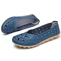 Comfy Slipony Women's Moccasins Womens Ladies Girls Boat Shoes,Hollow Wide Width Slip On Casual Leather Flat Loafers Ballet Shoes (8, Blue)