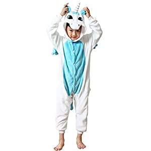 missbleu deguisement enfant pyjama combinaison animaux pyjama polaire enfant licorne bleu. Black Bedroom Furniture Sets. Home Design Ideas