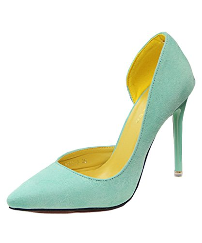 Mineroad Mujer Verano Zapatos De Tacon De Punta Elegantes Color Del Caramelo Estiletes Verde Claro EU 38