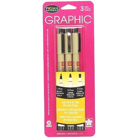 Pigma Micron Graphic 3PK BK 1,2,3mm