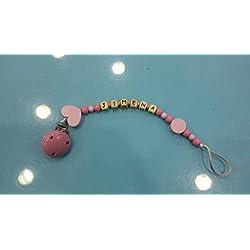 Chupetero personalizado madera mod. Corazón rosa- chicle