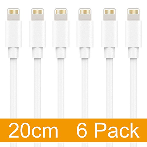 maxgadget Lightning Kabel, 6er Pack [20,3cm] Lightning Kabel Ladegerät Lightning auf USB-Kabel Ladekabel USB Schnell Ladekabel für iPhone 7, Se, 5,5S, 6,6s, 6Plus, iPad Air, Mini, iPod–Weiß Apple Iphone 5 Seil-ladegerät