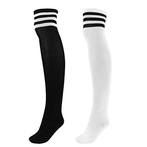 Mit Schwarzen Socken Kostüm Langen - CHIC DIARY Damen Mädchen Kinder Strümpfe Overknee Kniestrümpfe gestreifte Sportsocken College Socks Baumwollstrümpfe, Schwarz Streifen auf Weiß+weiß Streifen auf Schwarz, Einheitsgröße
