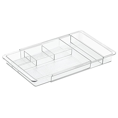 InterDesign Clarity Extendable Cosmetics Organiser, Adjustable plastic Drawer Organiser Tray, Clear