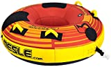 MESLE Tube Hurricane Speed 58'', Towable-Tube, Fun-Tube, Profi Tube, 840 D Nylon komplett umhüllt, PVC Boden, 1-2 Person, rot-gelb, Luxury-Towable, Extra verstärkter Tube, Boston Ventil