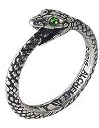 Alchemy - Anillo gótico de Peltre con Cristales Verdes Sofía Serpiente Ouroboros