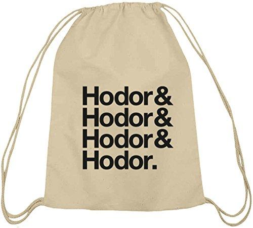 Shirtstreet24, Hodor & Hodor & Hodor & Hodor. Cotone Natura Palestra Borsa Zaino Sport Natura