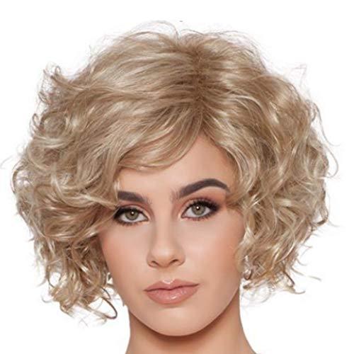 Perücke Wig Damen Kurz Wavy Synthetische Frauen Brazilian Curly Cosplay Hair 50Er 60Er 70Er 80Er