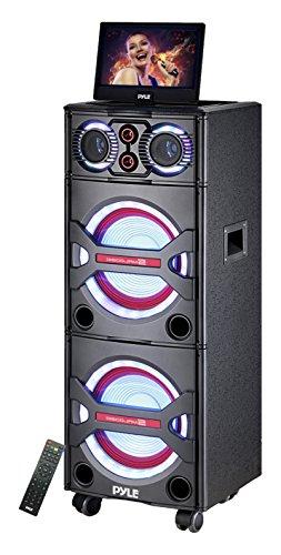 Pyle Bluetooth PA Loudspeaker Karaoke Entertainment Audio & Video System, Active Powered Speaker, CD/DVD Player with 10'' Display, Flashing DJ Party Lights, MP3/USB/SD, FM Radio, Wireless Mic