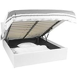 EuropeDirectShopping Lit Coffre | Luna Ottoman | Blanc | 140x190 | 665 litres d'espace de Stockage | Tête de lit Detachable