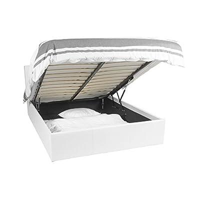 Telaio per il letto | Luna Ottoman | 140×190 | Bianco | lo spazio di archiviazione 665 litro | removibile restate