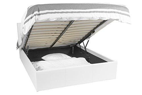 Telaio per il letto | luna ottoman | 140x190 | bianco | lo spazio di archiviazione 665 litro | removibile restate
