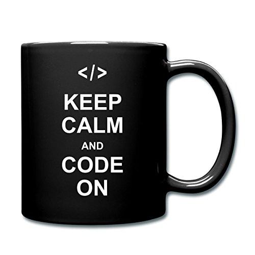 Spreadshirt Nerd Keep Calm And Code On Tasse einfarbig, Schwarz