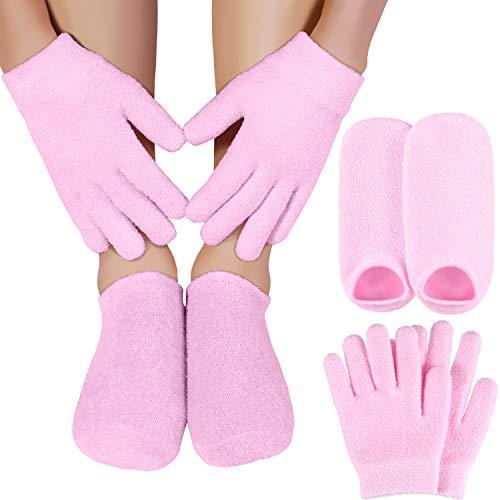 Feuchtigkeitsspendende Spa Gel Handschuhe und Socken Set Dark Pink für Frauen und Kinder, um Trockene Raue und Gebrochene Hände zu Reparieren