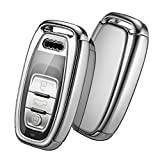 Autoschlüssel Hülle Audi,Schlüsselhülle Cover Case für Audi A4 A5 A6 A7 Q5 Q7 Q8 RS SQ Seat 3-Tasten Schlüsselbox (Silber)