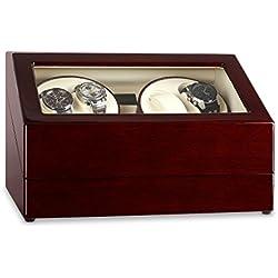 Klarstein Old Marshall Uhrenbeweger Uhrenkasten Schaukasten (für 10 Uhren, 2 Drehtribünen, programmierbare Bewegunsgmodi) braun