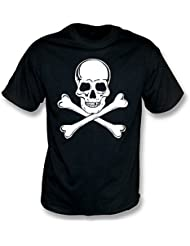 TshirtGrill Totenkopf mit gekreuzter Knochen, wie durch T-Shirt Paul Simonons (The Clash) getragen, Farbe- Schwarzes
