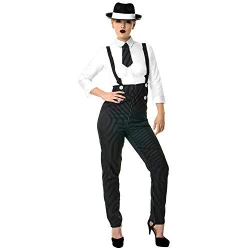 sowest Damen Gangster Kostüm 1920er Mobster Kostüm Nadelstreifen Anzug Outfit Maulwurf