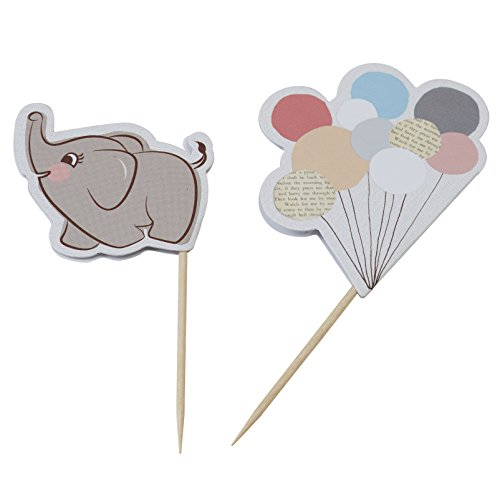 aby Elephant & Pastell Ballon Essen Cupcake Toppers Flagge - ein wenig (Vintage Baby-dusche)