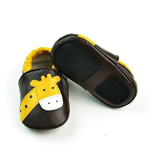 Vesi-Chaussures Bébé Cuir Souple Chaussons Premiers Pas Respirant pour Garçon Fille Nourrisson Efant Tigre Taille XL:18-24 Mois Giraffe Marron