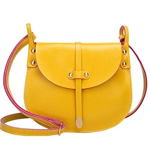 DOGZI Damen Ledertasche Kleine, Umhängetaschen Handtaschen Damenhandtaschen Mode Frauen Nieten Leder Hit Farbe Crossbody Tasche Umhängetasche Handtasche