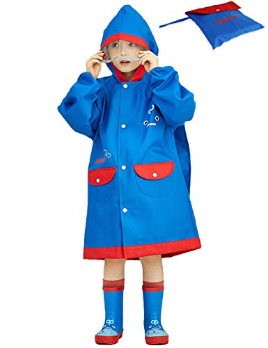 Aramomo Raincoat Blue Robot Cartoon Hoodie Rain Jacket Outfit Backpack Space for Kids Boys,Tag L(for Height:53.1