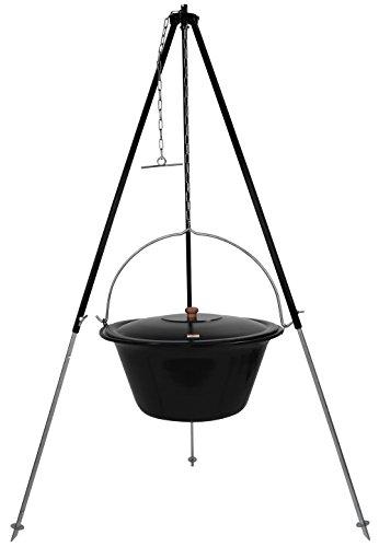 Grillplanet ungarisches Dreibein 1,80m und Original 30 L Gulaschkessel mit Deckel/Gulasch Topf Kessel emailliert für Offenes Feuer (Offenen Kochen Feuer)