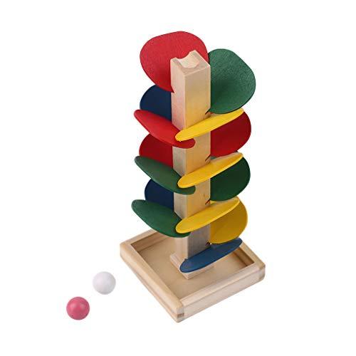 F-blue Einzigartige Holz-Baum-Blätter-Blöcke Holz Baum Marble Kugellaufstrecke Spiel Spielzeug Kinder Lernspielzeug