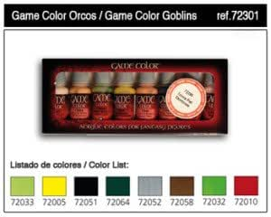 VAL72301 Game Color Set - Orcs and Goblins (x8) VALLEJO ACRYLIC PAINTS
