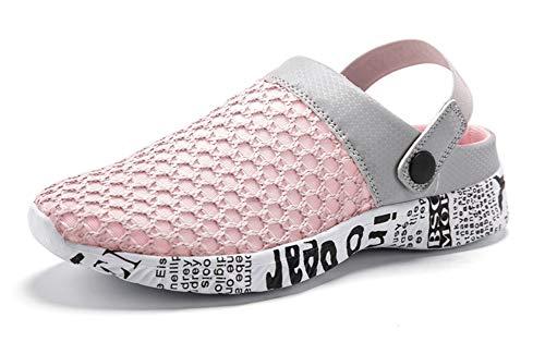 Gaatpot Damen Clogs Hausschuhe Freizeit Slides Mesh Sandalen Sommer Outdoor Flach Pantoletten Sports Strand Schuhe Pink 39 EU =40 CN - Kinder Geschlossene Clogs