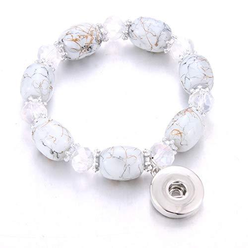 ZKZDSL Armband,Elastizität Druckknopf Armband Perlen Snap Armband Fit Snap Buttons Schmuck Naturstein Perlen Weiß (Perlen-snap Button Armbänder)