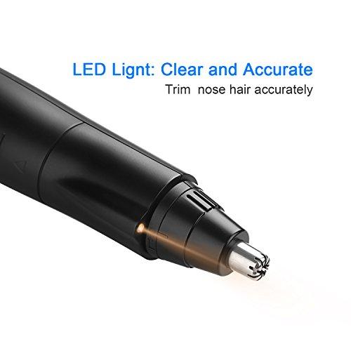 Cortapelos Nariz y Oreja - Liberex LED Recortadora Eléctrica para Nariz, Oreja y Vello, Impermeable, sin Dolor, Cuchilla de 360° Rotación, Negro