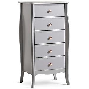 Beautify graue schmale Kommode mit 5 Schubladen - Aufbewahrung Tallboy - Schlafzimmer- oder Wohnzimmermöbel - Vintage-Stil mit roségoldenen Griffen