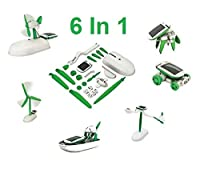 New 6 In 1 Solar Powered Kit Science Fun Kids Children Games Car Boat Drone Home
