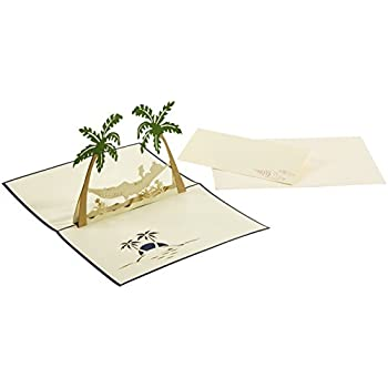 LIN-POP UP 3D Grußkarten Glückwunschkarten Ruherstandkarten Urlaubskarten, Reisegutschein, Palmen Inseln Hängermatte
