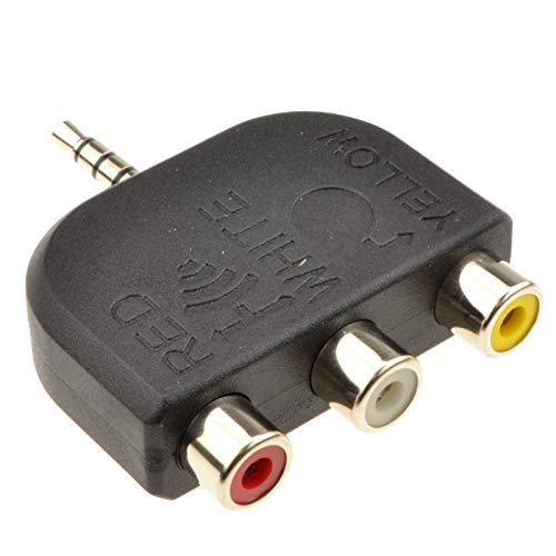 3,5 mm Klinkenstecker Zum 3 Cinch 4 Polig AV Ausgang TV Adapter Konverter - Tv-ausgang-adapter