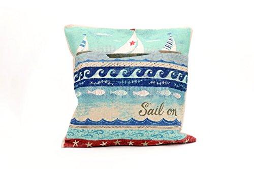 Kissenbezug Aina 40x40cm schöne Kissenhülle maritim Boot Segelboot Wellen blau Beach Strand Fische Sterne segeln vintage retro blau beige Leinen Leinenoptik Dekokissen (Boot Welle)