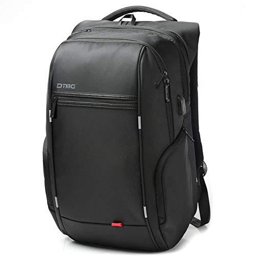 DTBG Nylon Laptop Backpack Water Resistant with USB Charging Port,17.3-Inch Length,(JB-D8195W, Black)