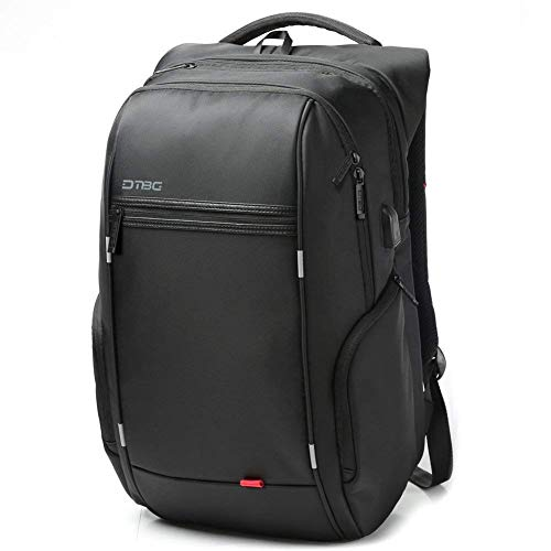 DTBG Black Nylon Waterproof Laptop Backpack with USB Charging Port