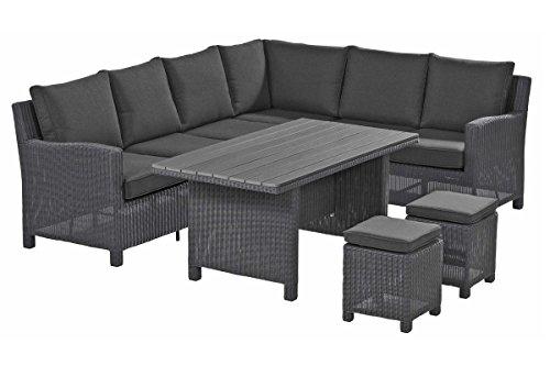 Kettler Lounge-Gruppe Palma Casual Dining-Set aus hochwertigem Polyrattan in grau, ca. 210 x 260 x 85 cm, inkl. Polster, Ecksofa, 2 Hocker, Esstisch mit Infinitree-Platte, Naturholz Optik, wetterfest
