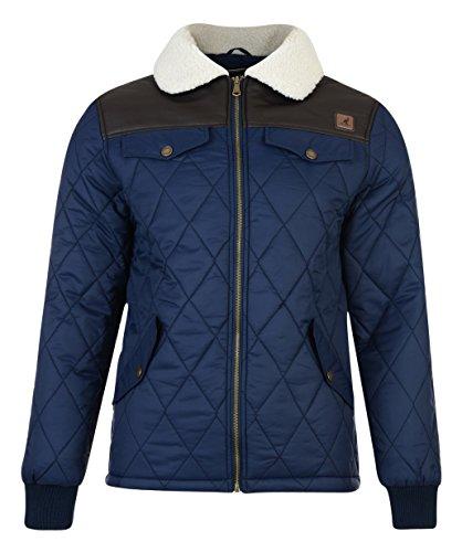 Kangol Herren Steppjacke Mantel Blau - Navy