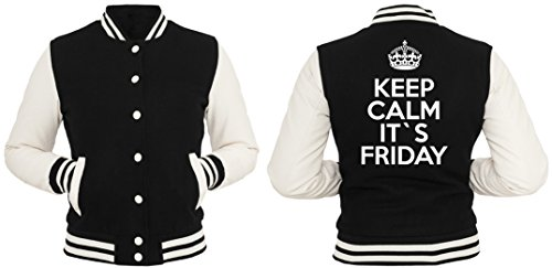 Keep Calm It`s Friday Giacca Collegio Girls Nero-XL