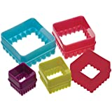 Kitchen Craft Colourworks Plastic Plain and Fluted Square Cookie Cutters - Set of 5