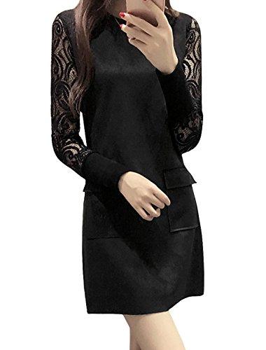sourcingmap Femmes Ras De Cou Semi-transparente Manches Panneau Dentelle Robe Tunique Noir